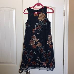 Embroidered navy floral dress size medium